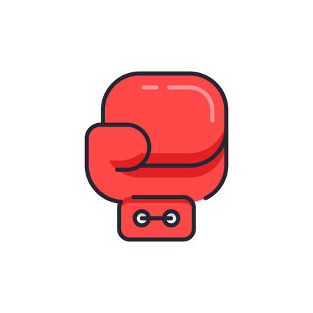 Boxing glove lcon. Sport equipment symbol, line, color, outline style pictogram on beige background. Boxing gloves sign for mobile concept and web design. Vector graphics