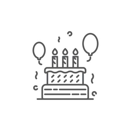 Birthday cake icon, color, line, outline vector sign, linear style pictogram isolated on white. Symbol, logo illustration. Editable stroke. Pixel perfect