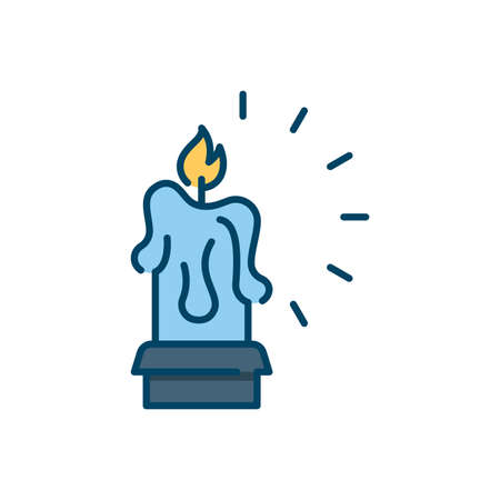 Candle icon, color, line, outline vector sign, linear style pictogram isolated on white. Symbol, illustration. Editable stroke. Pixel perfect