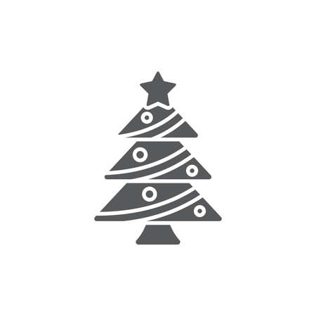 Christmas tree icon, color, line, outline vector sign, linear style pictogram isolated on white. Symbol, logo illustration.