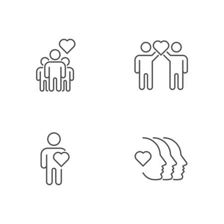 Friendship and love icon, color, line, outline vector sign, linear style pictogram isolated on white. Symbol, logo illustration. 向量圖像