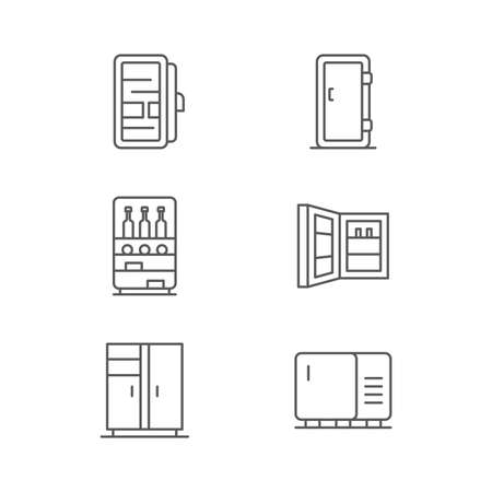 Fridge icon set icon, color, line, outline vector sign, linear style pictogram isolated on white. Symbol, logo illustration.