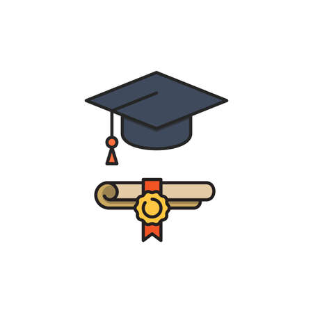 Graduation hat and diploma icon, color, line, outline vector sign, linear style pictogram isolated on white. Symbol, logo illustration. 向量圖像