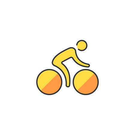 Cycling icon, color, line, outline vector sign, linear style pictogram isolated on white. Symbol, logo illustration. 向量圖像