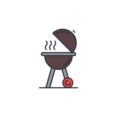 Grill bbq icon, color, line, outline vector sign, linear style pictogram isolated on white. Symbol, logo illustration