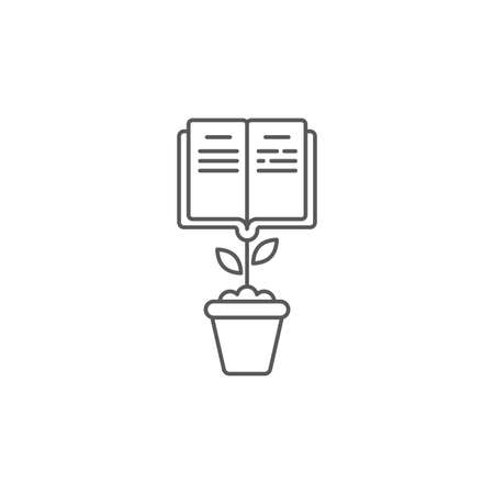Grow book icon, color, line, outline vector sign, linear style pictogram isolated on white. Symbol, logo illustration 向量圖像