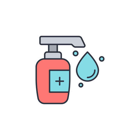 Hand sanitizer icon, color, line, outline vector sign, linear style pictogram isolated on white. Symbol, logo illustration