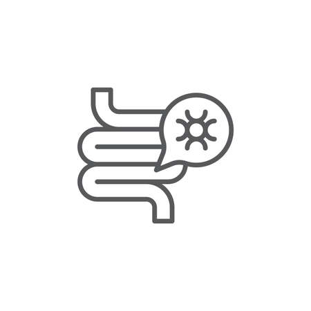 Gut bacteria icon, color, line, outline vector sign, linear style pictogram isolated on white. Symbol, logo illustration 向量圖像