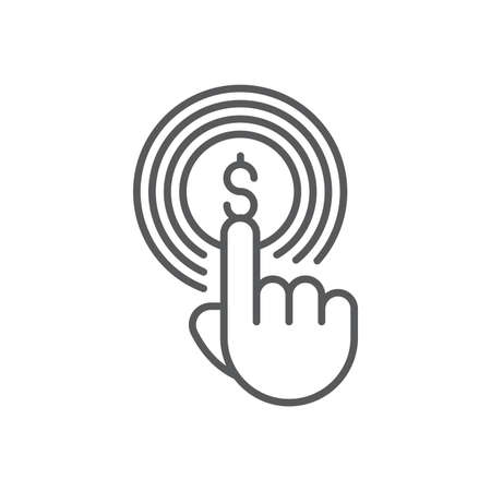 Hand using touch screen and coin icon, color, line, outline vector sign, linear style pictogram isolated on white. Symbol, logo illustration 向量圖像