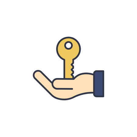 Hand holds home keys icon, color, line, outline vector sign, linear style pictogram isolated on white. Symbol, logo illustration