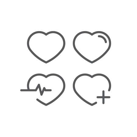 Heart icon, color, line, outline vector sign, linear style pictogram isolated on white. Symbol, logo illustration