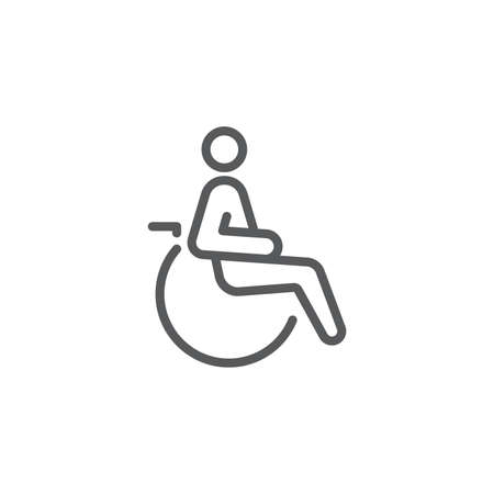 Handicapped patient icon, color, line, outline vector sign, linear style pictogram isolated on white. Symbol, logo illustration 向量圖像