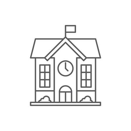 High school building icon, color, line, outline vector sign, linear style pictogram isolated on white. Ilustración de vector