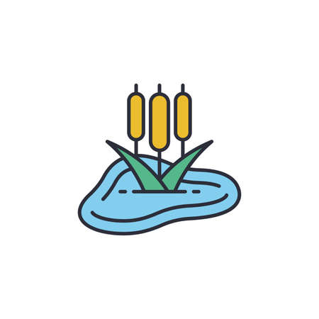 Pond with reeds icon, color, line, outline vector sign, linear style pictogram isolated on white.