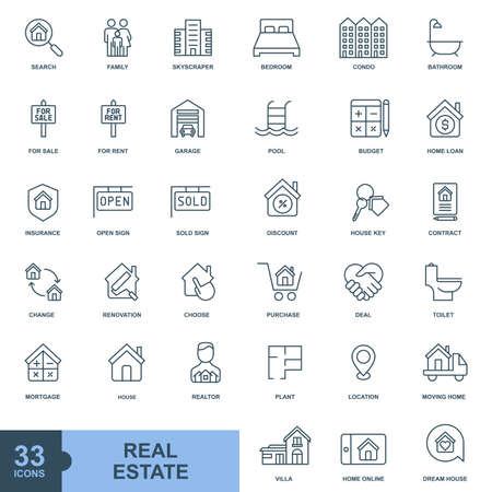 Real estate minimal icon, color, line, outline vector sign, linear style pictogram isolated on white. Symbol, logo illustration  イラスト・ベクター素材