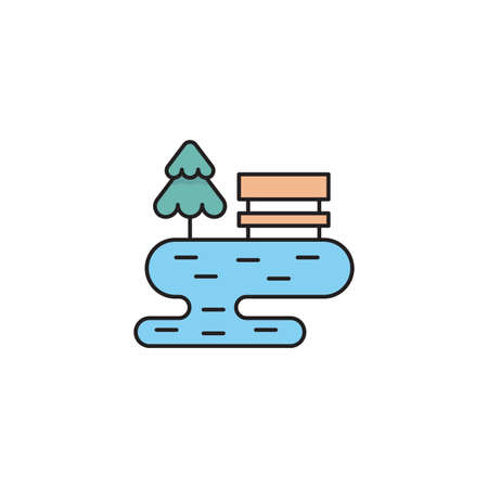 bench with tree and lake line icon linear style sign for mobile concept and web design park bench
