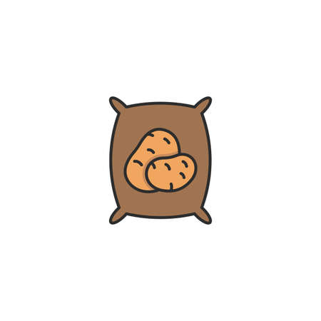 potatoes sack vector icon filled flat sign for mobile concept and web design bag of potato glyph