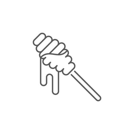 Honey dipper stick icon isolated on white background. Honey ladle. Set icons colorful square buttons. Vector Illustration Vecteurs