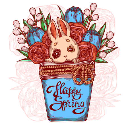 Cute hand drawn picture with a rabbit, spring flowers and greenery in a flower pot. Can be applied in web, cards, prints, stickers, posters, greetings. Happy spring. Vector illustration Ilustração