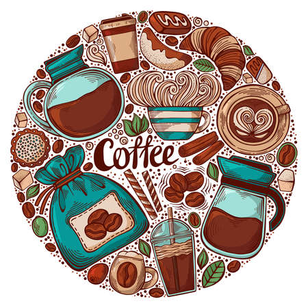 Hand drawn circle design with coffee theme elements. Vector illustration for decoration of various coffee establishments