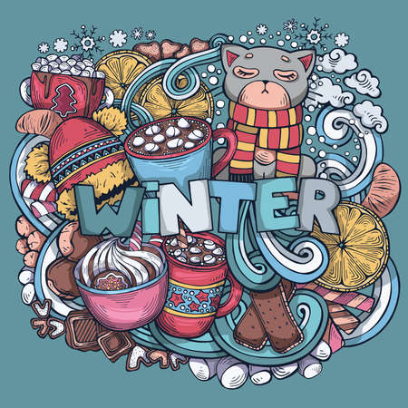Hand-drawn cute winter illustration. Colorful, detailed. Original image with isolated objects. Creative vector background