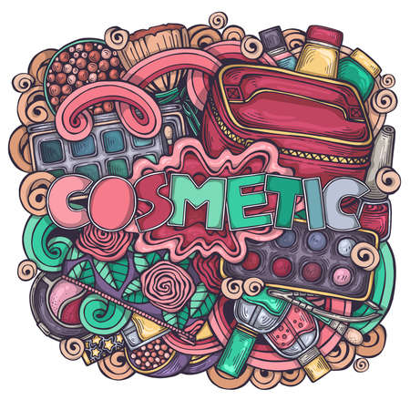 Colorful hand-drawn cute illustration on the theme of cosmetics. Original art with make up symbols. Female beauty design. Creative vector background
