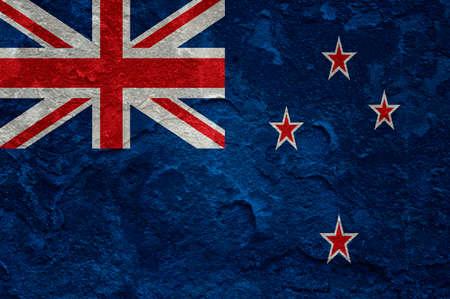 New Zealand flag on grunge background Stock Photo