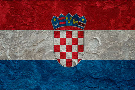 croatia flag: Croatia flag on grunge background Stock Photo