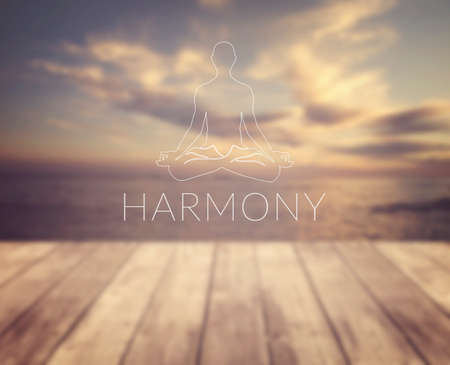 Harmony. Poster for yoga class with a sea view.