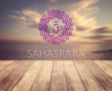 sahasrara: Sahasrara chakra symbol. Poster for yoga class with a sea view.