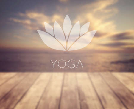 Yoga. Lotus symbol. Poster for yoga class with a sea view.