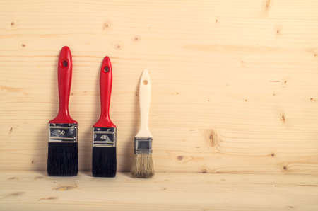 bristles: Paint Brush ready for painting. Decorating concept. Stock Photo