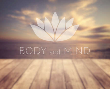 Body and mind. Poster for yoga class with a sea view. Stock Photo