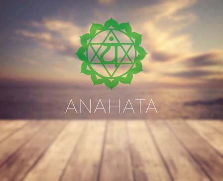 sahasrara: Anahata chakra symbol. Poster for yoga class with a sea view.