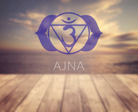 sahasrara: Ajna chakra symbol. Poster for yoga class with a sea view.