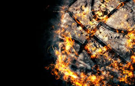Basketball background, fire illustration.
