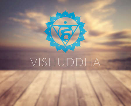 vishuddha: Vishuddha chakra symbol. Poster for yoga class with a sea view. Stock Photo