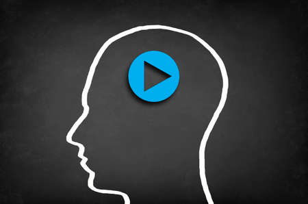 begin: Play button in head. Start or initiate projects concept.