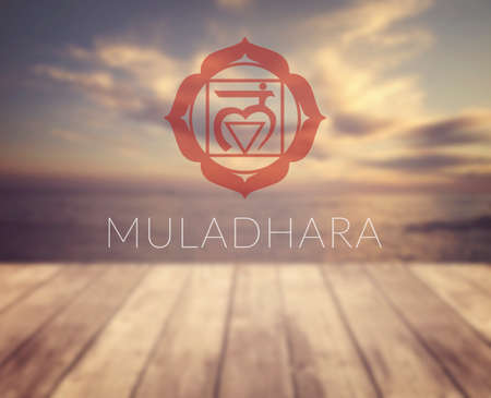 sahasrara: Muladhara chakra symbol. Poster for yoga class with a sea view.