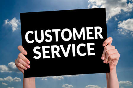 advice: Customer Service card with cloud background