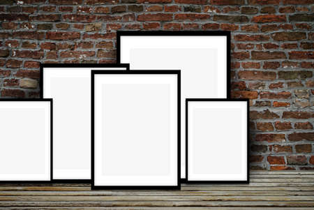 wooden floors: Mock up posters on floor Stock Photo