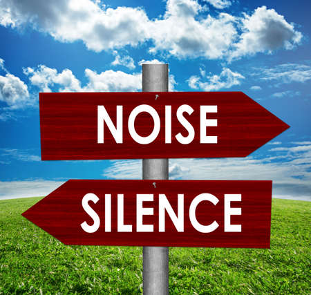 Silence and noise road sign