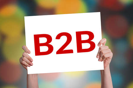 B2B (marketing) card with bokeh background