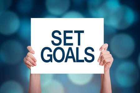 Set goals card on bokeh background