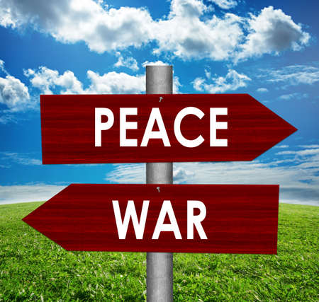 Peace and war road sign Stock Photo