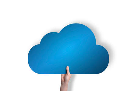 Blue cloud in hand isolated on white background