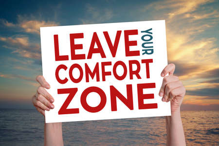 yourself: Leave Your Comfort Zone Card with Beach Background Stock Photo