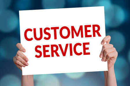 advice: Customer service card with bokeh background
