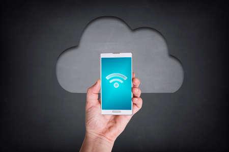 通信: Cloud Computing on Blackboard 写真素材