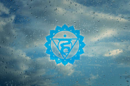 Vishuddha chakra symbol. Poster for yoga class with a clouds view.